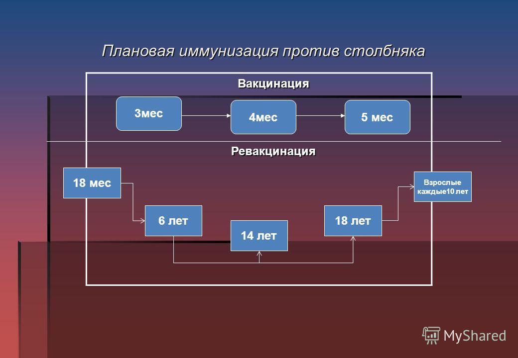 Плановая иммунизация против столбняка Вакцинация Ревакцинация 3 мес 5 мес 4 мес 18 мес 6 лет 14 лет 18 лет Взрослые каждые 10 лет