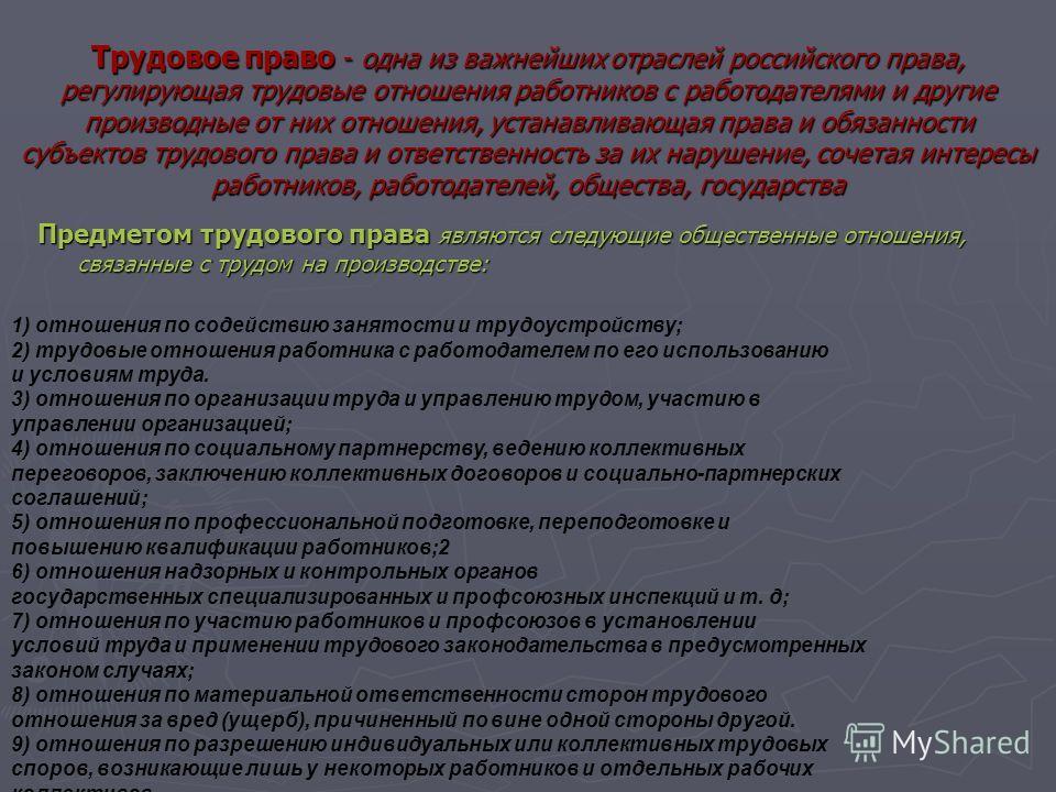 Трудовое право - одна из важнейших отраслей российского права, регулирующая трудовые отношения работников с работодателями и другие производные от них отношения, устанавливающая права и обязанности субъектов трудового права и ответственность за их на