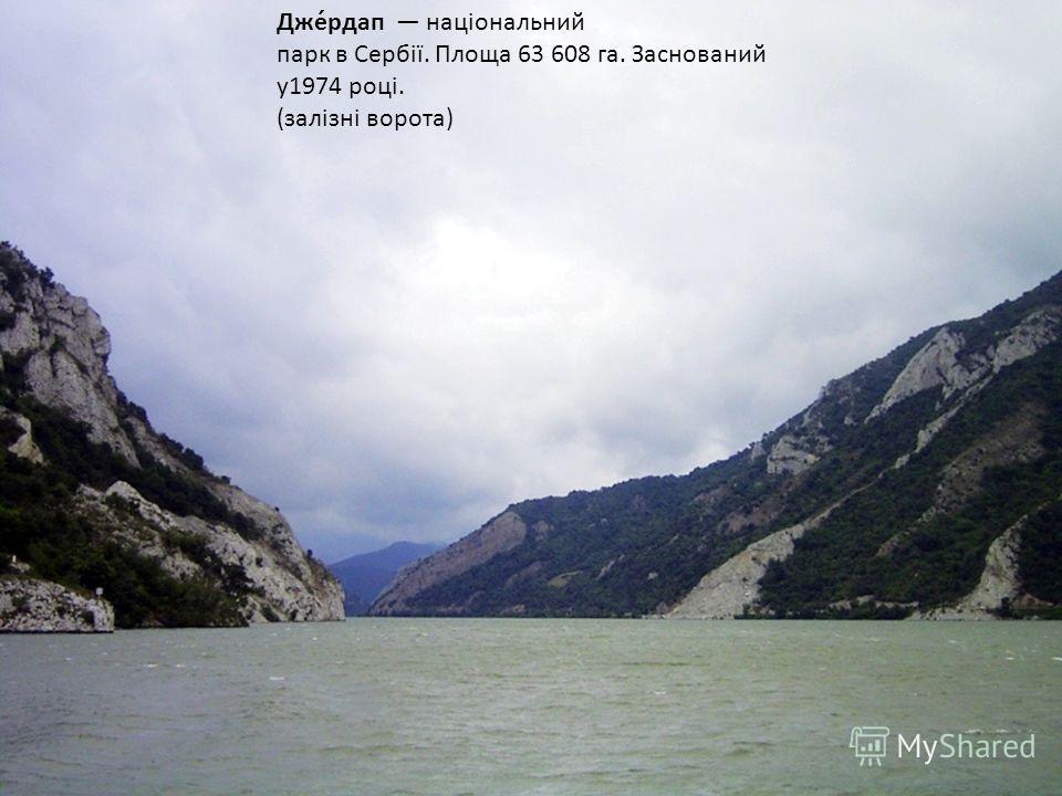 Дже́рдап національний парк в Сербії. Площа 63 608 га. Заснований у 1974 році. (залізні ворота)
