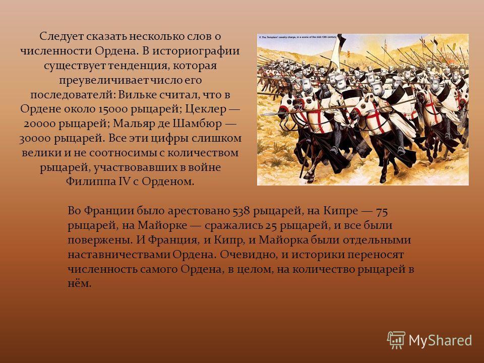 Следует сказать несколько слов о численности Ордена. В историографии существует тенденция, которая преувеличивает число его последователи: Вильке считал, что в Ордене около 15000 рыцарей; Цеклер 20000 рыцарей; Мальяр де Шамбюр 30000 рыцарей. Все эти
