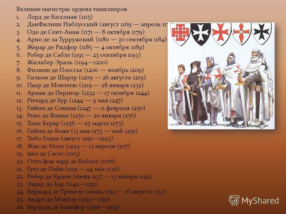 Великие магистры ордена тамплиеров 1. Лорд де Киллман (1115) 2. Дан Филипп Наблусский (август 1169 апрель 1171) 3. Одо де Сент-Аман (1171 8 октября 1179) 4. Арно де ла Турружский (1180 30 сентября 1184) 5. Жерар де Ридфор (1185 4 октября 1189) 6. Роб