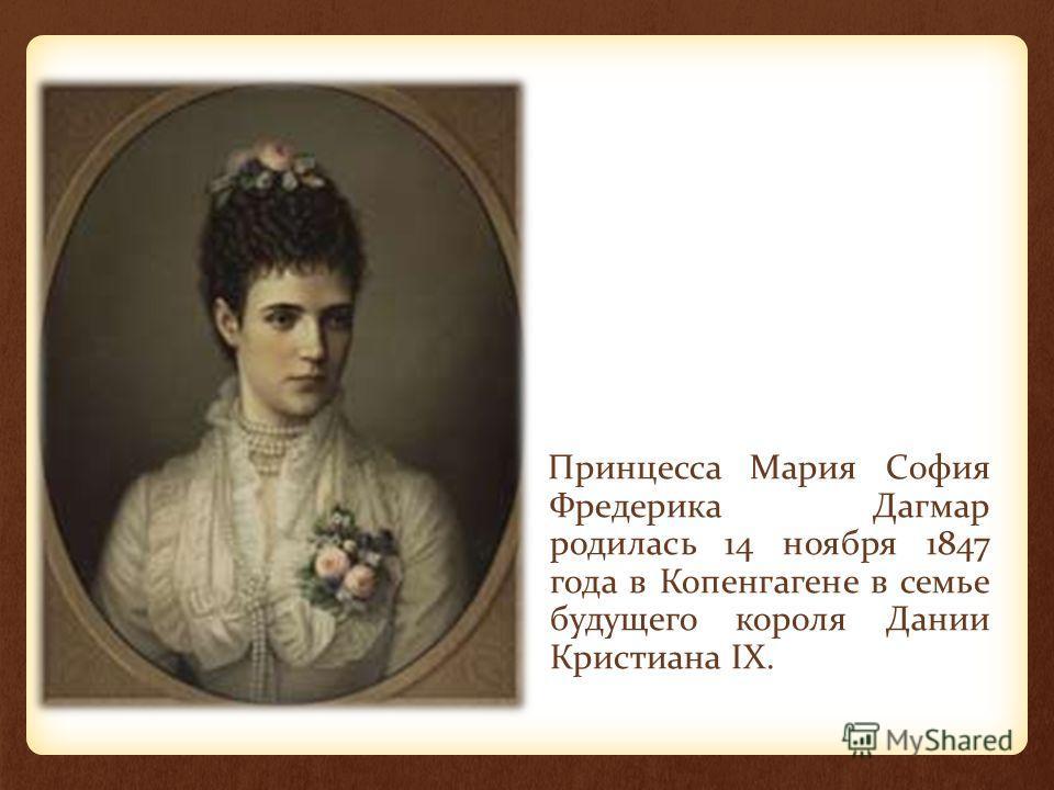 Принцесса Мария София Фредерика Дагмар родилась 14 ноября 1847 года в Копенгагене в семье будущего короля Дании Кристиана IX.