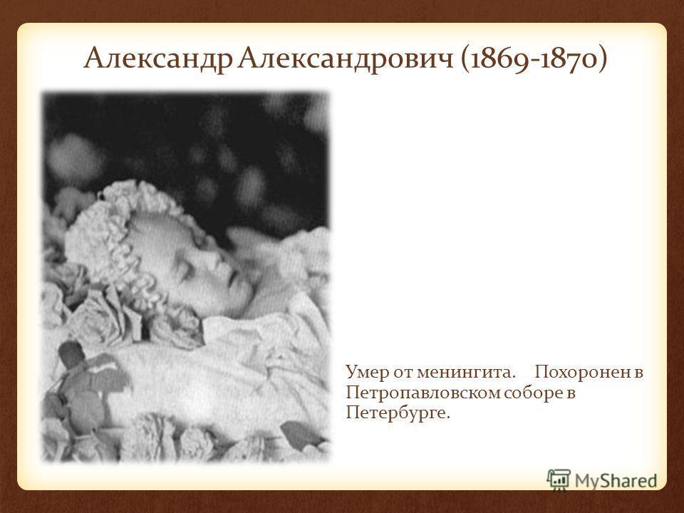 Александр Александрович (1869-1870) Умер от менингита. Похоронен в Петропавловском соборе в Петербурге.