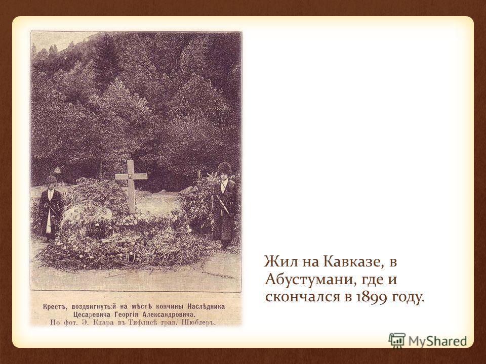 Жил на Кавказе, в Абустумани, где и скончался в 1899 году.
