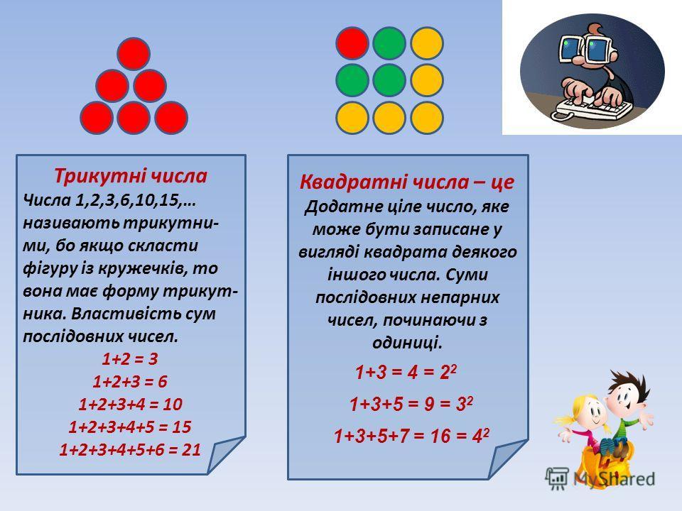 Трикутні числа Числа 1,2,3,6,10,15,… називають трикутни- ми, бой якщо скласти фігуру із кружечків, то вона має форму трикут- ника. Властивість сум послідовних чисел. 1+2 = 3 1+2+3 = 6 1+2+3+4 = 10 1+2+3+4+5 = 15 1+2+3+4+5+6 = 21 Квадратні числа – це