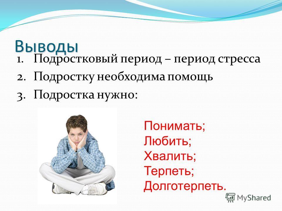 Выводы 1. Подростковый период – период стресса 2. Подростку необходима помощь 3. Подростка нужно: Понимать; Любить; Хвалить; Терпеть; Долготерпеть.