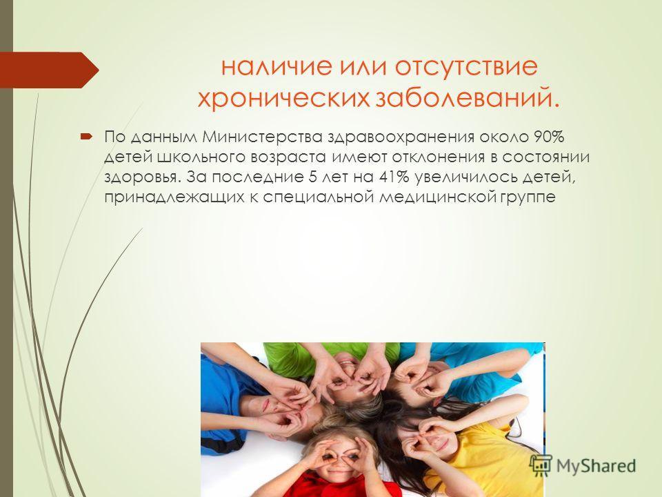наличие или отсутствие хронических заболеваний. По данным Министерства здравоохранения около 90% детей школьного возраста имеют отклонения в состоянии здоровья. За последние 5 лет на 41% увеличилось детей, принадлежащих к специальной медицинской груп