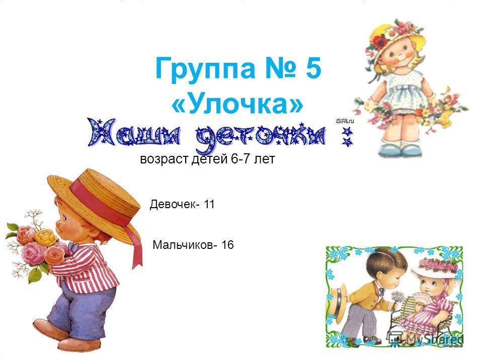 Мальчиков- 16 Девочек- 11 Группа 5 «Улочка» 4 возраст детей 6-7 лет