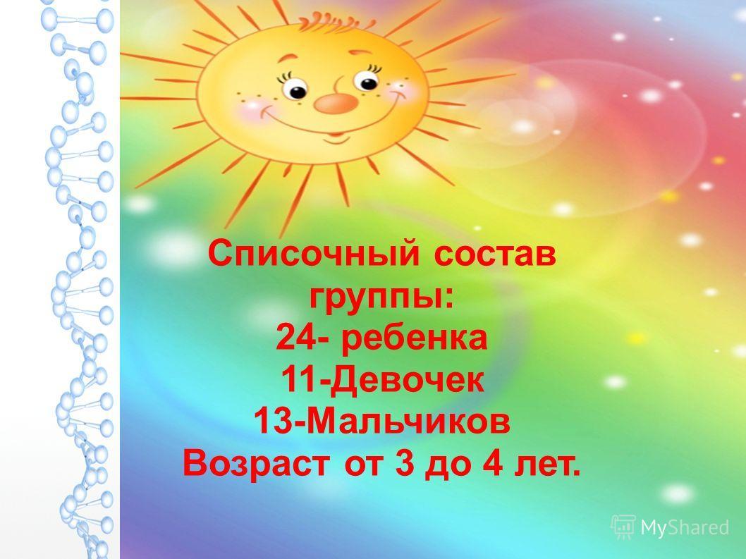 Списочный состав группы: 24- ребенка 11-Девочек 13-Мальчиков Возраст от 3 до 4 лет.
