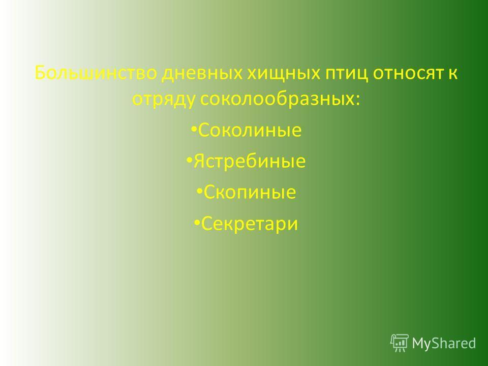 Большинство дневных хищных птиц относят к отряду соколообразных: Соколиные Ястребиные Скопиные Секретари