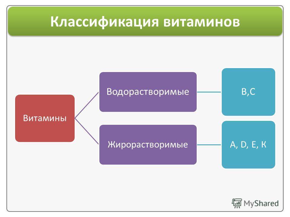 Классификация витаминов Витамины Водорастворимые B,С Жирорастворимые А, D, Е, К