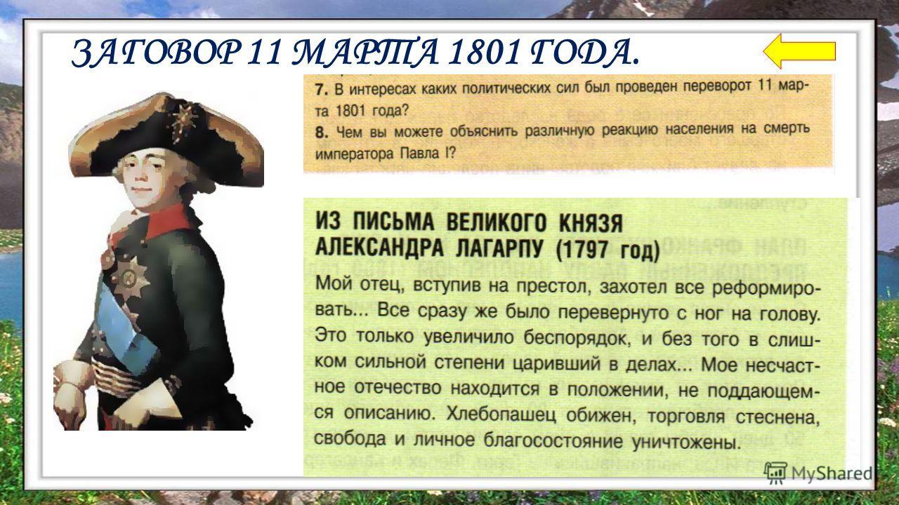ЗАГОВОР 11 МАРТА 1801 ГОДА.