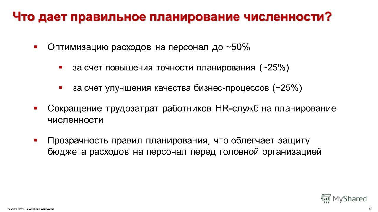 6 © 2014 ПАКК | все права защищены Что дает правильное планирование численности? Оптимизацию расходов на персонал до ~50% за счет повышения точности планирования (~25%) за счет улучшения качества бизнес-процессов (~25%) Сокращение трудозатрат работни