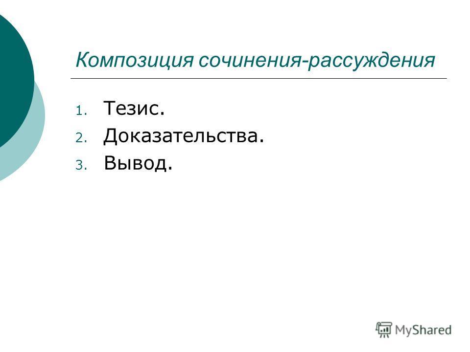 Композиция сочинения-рассуждения 1. Тезис. 2. Доказательства. 3. Вывод.