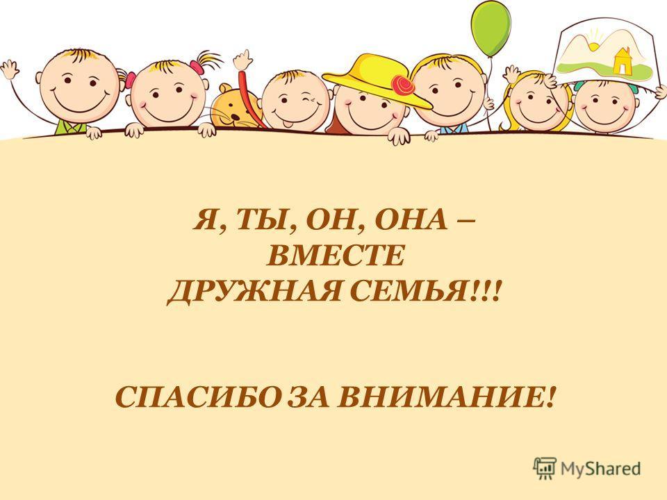 Я, ТЫ, ОН, ОНА – ВМЕСТЕ ДРУЖНАЯ СЕМЬЯ!!! СПАСИБО ЗА ВНИМАНИЕ!