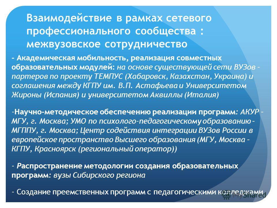 Взаимодействие в рамках сетевого профессионального сообщества : межвузовское сотрудничество - Академическая мобильность, реализация совместных образовательных модулей: на основе существующей сети ВУЗов – партеров по проекту ТЕМПУС (Хабаровск, Казахст