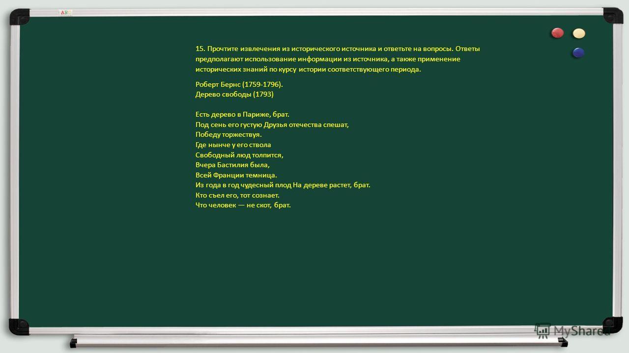 15. Прочтите извлечения из исторического источника и ответьте на вопросы. Ответы предполагают использование информации из источника, а также применение исторических знаний по курсу истории соответствующего периода. Роберт Бернс (1759-1796). Дерево