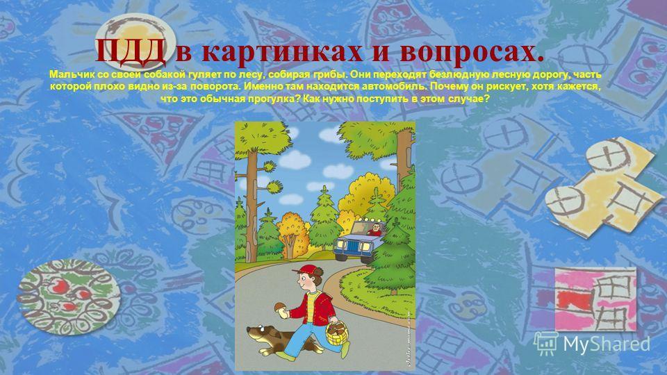 © Топилина С.Н. ПДД в картинках и вопросах. Мальчик со своей собакой гуляет по лесу, собирая грибы. Они переходят безлюдную лесную дорогу, часть которой плохо видно из-за поворота. Именно там находится автомобиль. Почему он рискует, хотя кажется, что