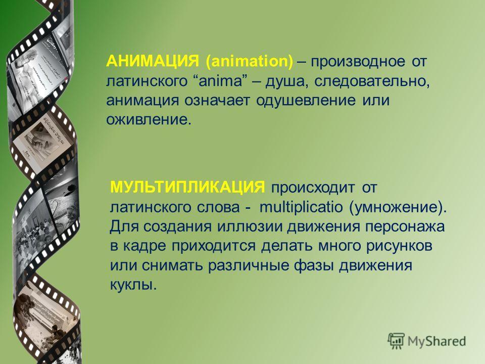 АНИМАЦИЯ (animation) – производное от латинского anima – душа, следовательно, анимация означает одушевление или оживление. МУЛЬТИПЛИКАЦИЯ происходит от латинского слова - multiplicatio (умножение). Для создания иллюзии движения персонажа в кадре прих