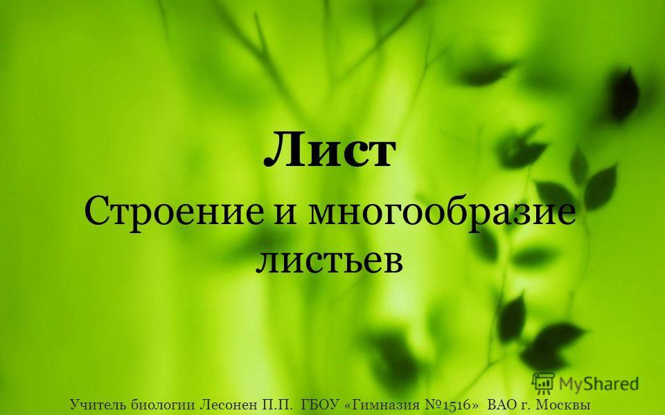 Лист Строение и многообразие листьев Учитель биологии Лесонен П.П. ГБОУ «Гимназия 1516» ВАО г. Москвы