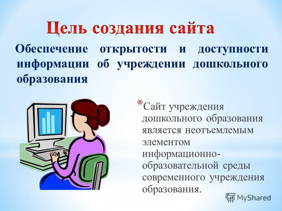 Обеспечение открытости и доступности информации об учреждении дошкольного образования * Сайт учреждения дошкольного образования является неотъемлемым элементом информационно- образовательной среды современного учреждения образования.