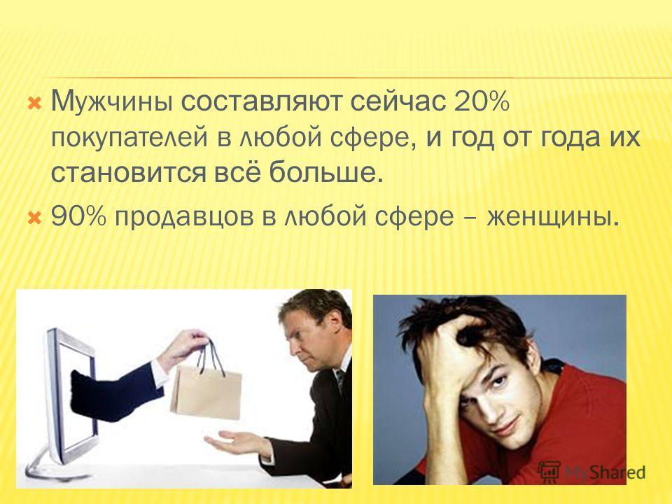 М ужчины составляют сейчас 20% покупателей в любой сфере, и год от года их становится всё больше. 90% продавцов в любой сфере – женщины.