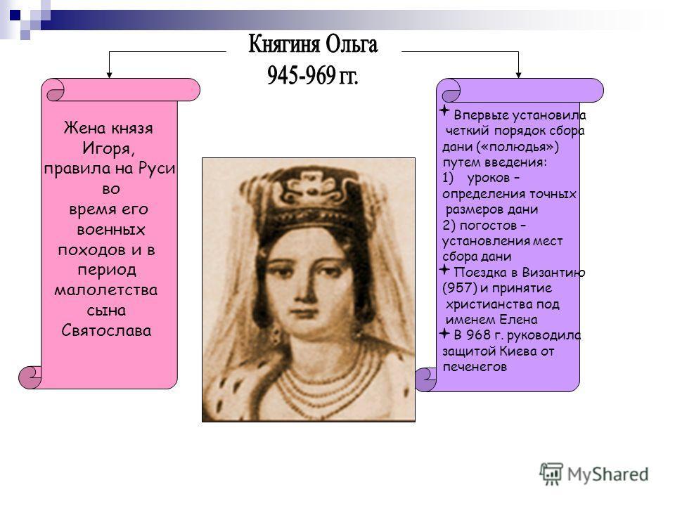 Впервые установила четкий порядок сбора дани («полюдья») путем введения: 1)уроков – определения точных размеров дани 2) погостов – установления мест сбора дани Поездка в Византию (957) и принятие христианства под именем Елена В 968 г. руководила защи