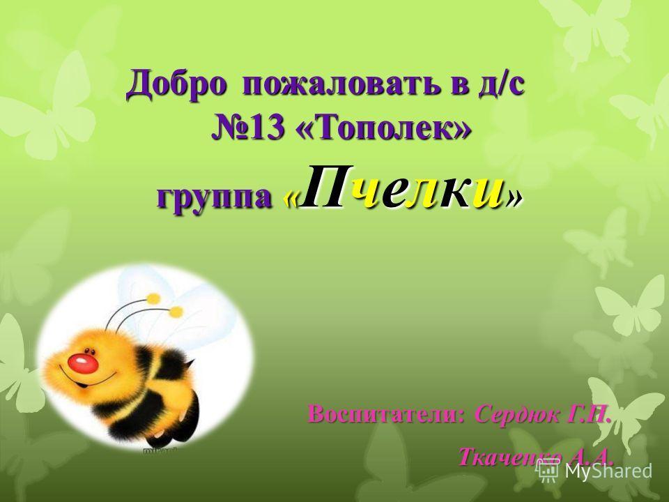 Добро пожаловать в д/с 13 «Тополек» группа « Пчелки » Добро пожаловать в д/с 13 «Тополек» группа « Пчелки » Воспитатели: Сердюк Г.П. Воспитатели: Сердюк Г.П. Ткаченко А.А. Ткаченко А.А.