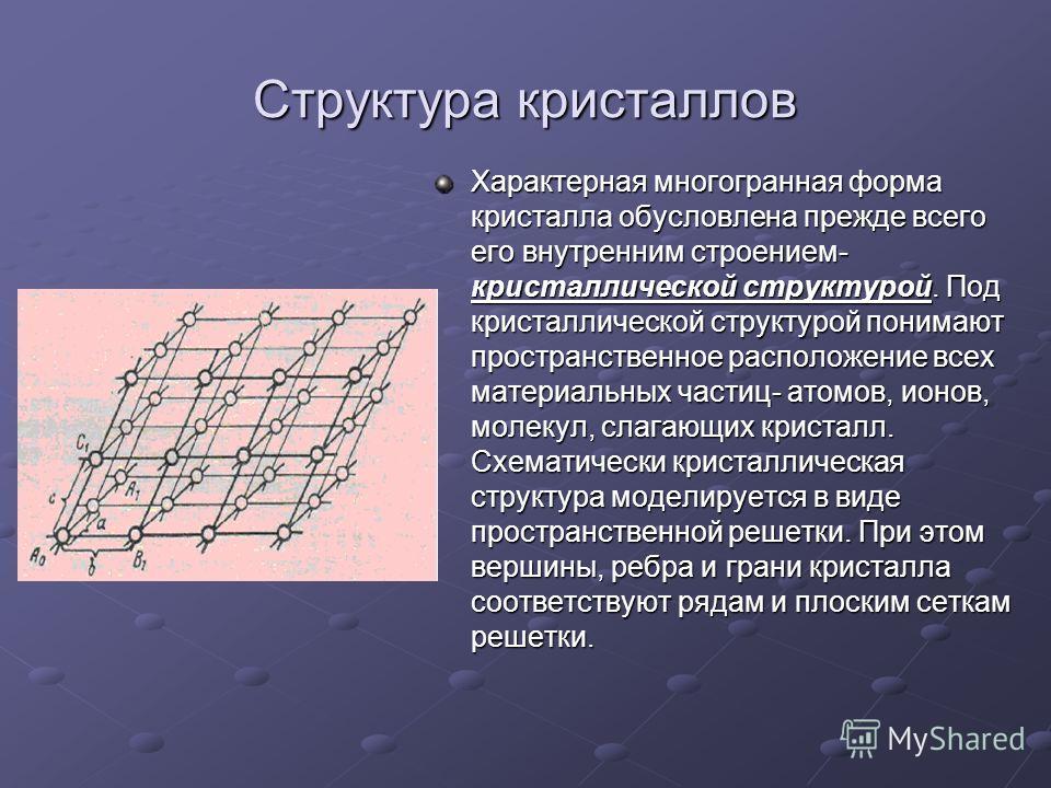 Структура кристаллов Характерная многогранная форма кристалла обусловлена прежде всего его внутренним строением- кристаллической структурой. Под кристаллической структурой понимают пространственное расположение всех материальных частиц- атомов, ионов