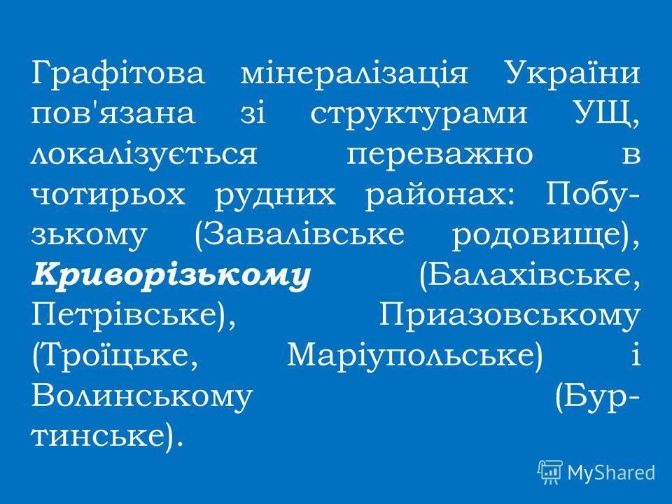 Графітова мінералізація України пов'язана зі структурами УЩ, локалізується переважно в чотирьох рудник районах: Побу- зькому (Завалівське родовище), Криворізькому (Балахівське, Петрівське), Приазовсикому (Троїцьке, Маріупольське) і Волинсикому (Бур-