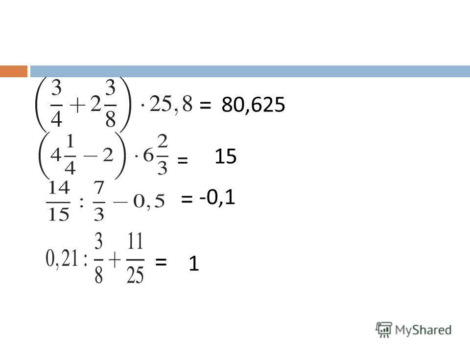 = = = = 80,625 15 -0,1 1