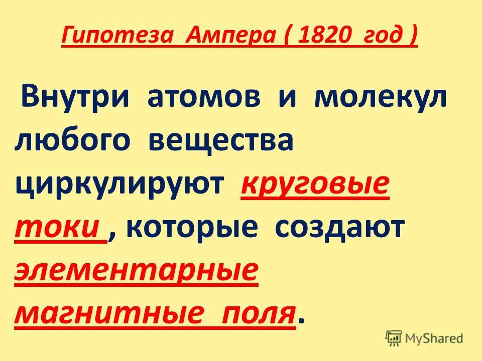 Гипотеза Ампера ( 1820 год ) Внутри атомов и молекул любого вещества циркулируют круговые токи, которые создают элементарные магнитные поля.