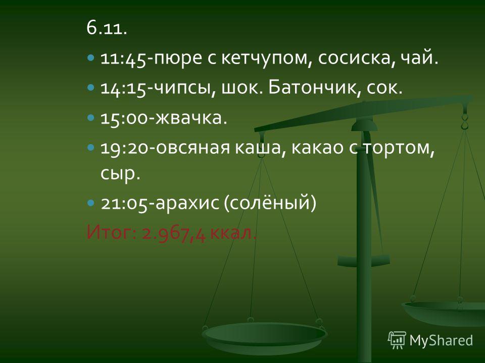 6.11. 11:45-пюре с кетчупом, сосиска, чай. 14:15-чипсы, шок. Батончик, сок. 15:00-жвачка. 19:20-овсяная каша, какао с тортом, сыр. 21:05-арахис (солёный) Итог: 2.967,4 ккал.
