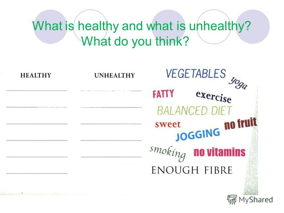 What is healthy and what is unhealthy? What do you think?