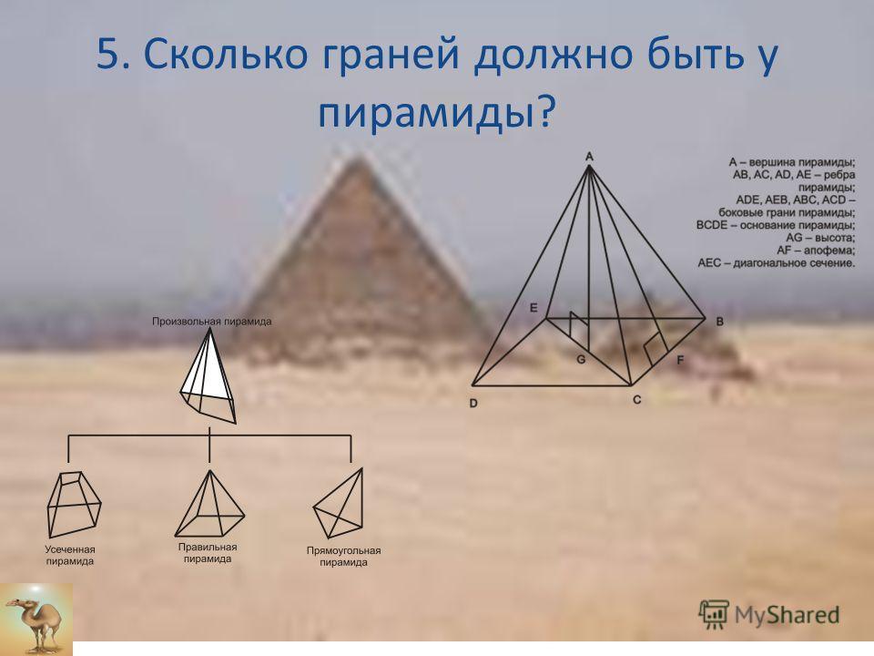 5. Сколько граней должно быть у пирамиды?