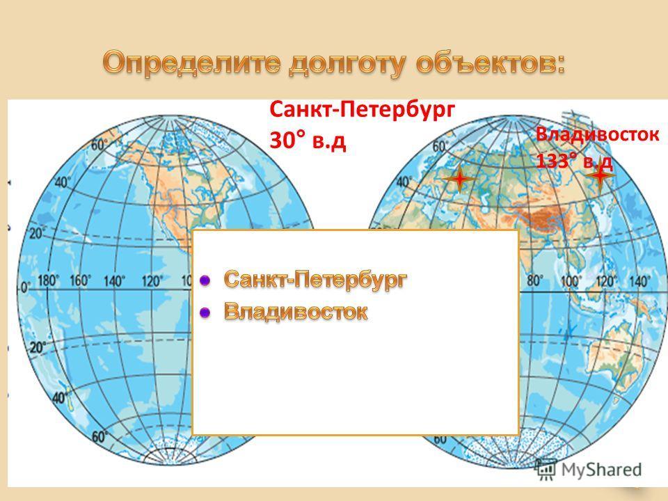 Санкт-Петербург 30° в.д Владивосток 133° в.д