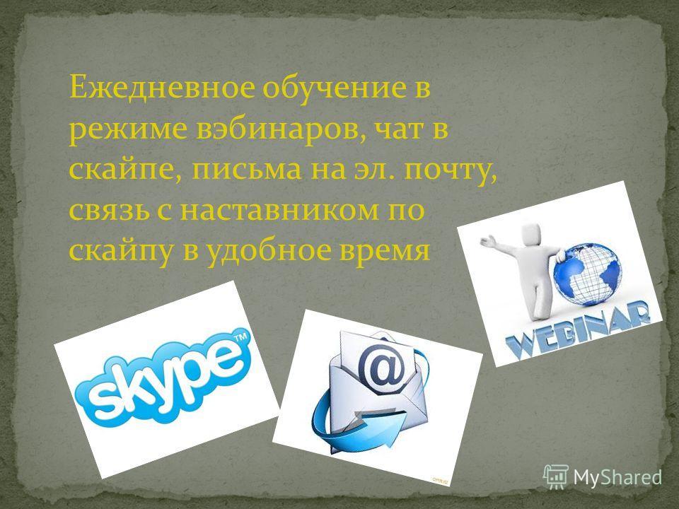 Ежедневное обучение в режиме вебинаров, чат в скайпе, письма на эл. почту, связь с наставником по скайпу в удобное время