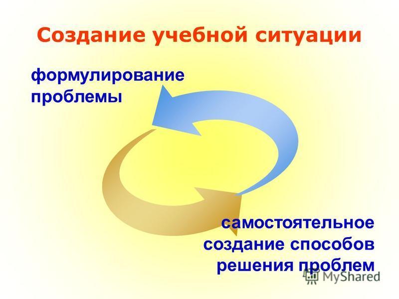 формулирование проблемы самостоятельное создание способов решения проблем Создание учебной ситуации