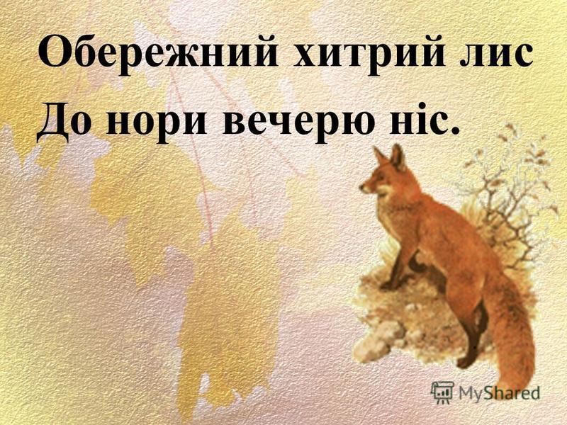 Обережний хитрый лис До нори вечерю ніс.