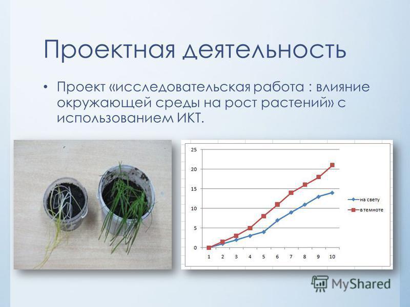 Проектная деятельность Проект «исследовательская работа : влияние окружающей среды на рост растений» с использованием ИКТ.