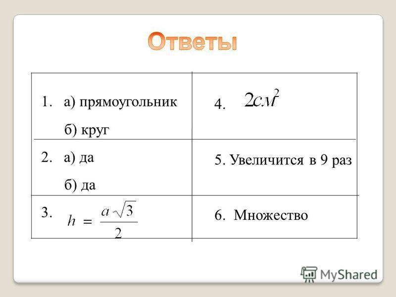 1. а) прямоугольник б) круг 2. а) да б) да 3. 4. 5. Увеличится в 9 раз 6. Множество
