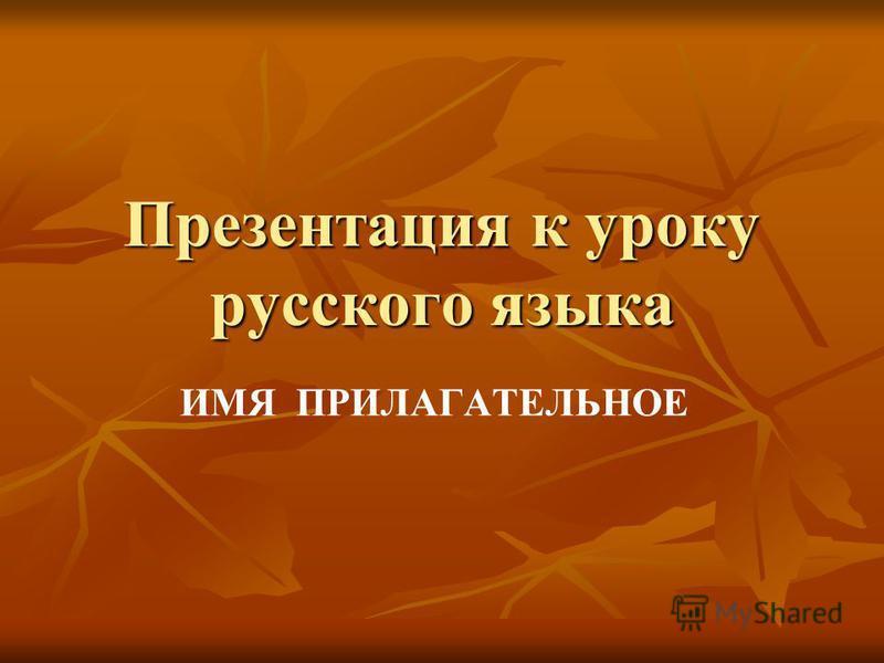 Презентация к уроку русского языка ИМЯ ПРИЛАГАТЕЛЬНОЕ