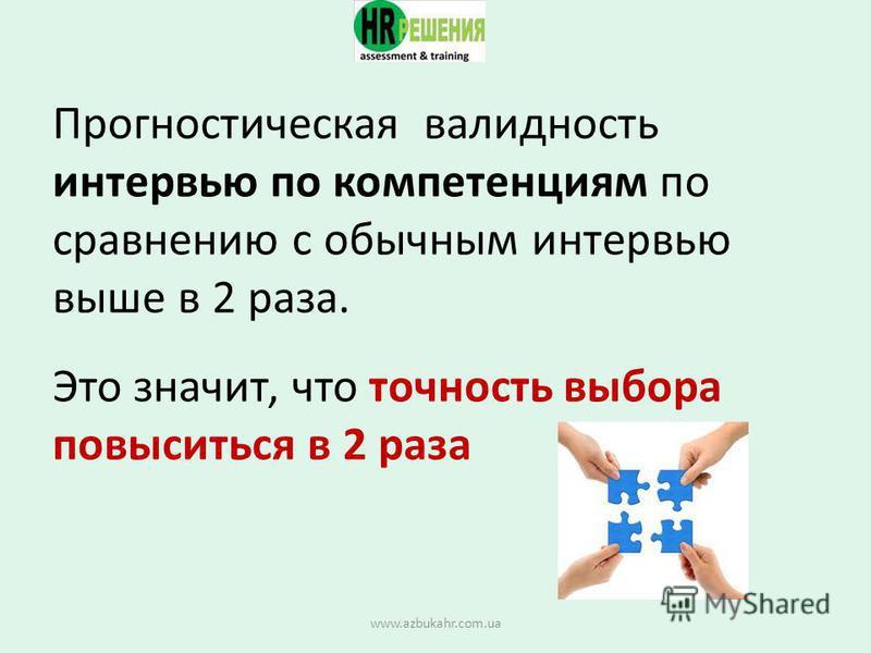 Прогностическая валидность интервью по компетенциям по сравнению с обычным интервью выше в 2 раза. Это значит, что точность выбора повыситься в 2 раза www.azbukahr.com.ua