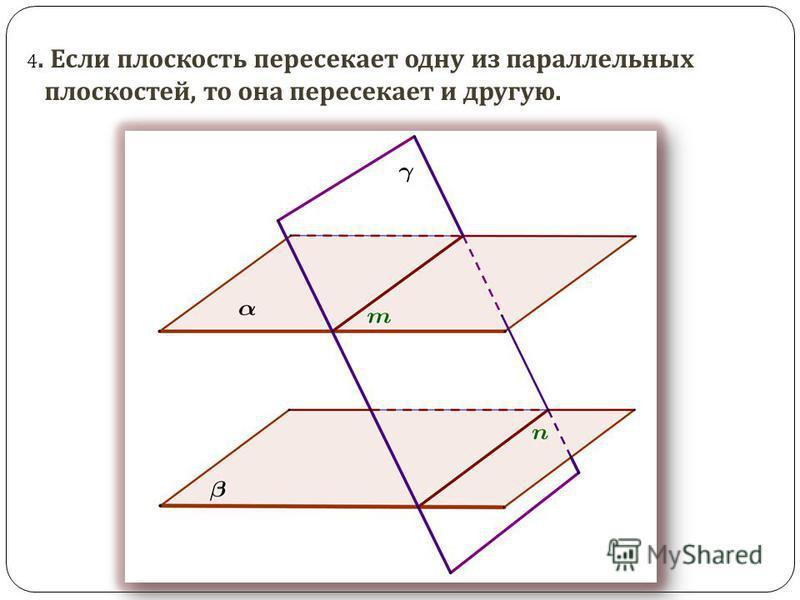 4. Если плоскость пересекает одну из параллельных плоскостей, то она пересекает и другую.