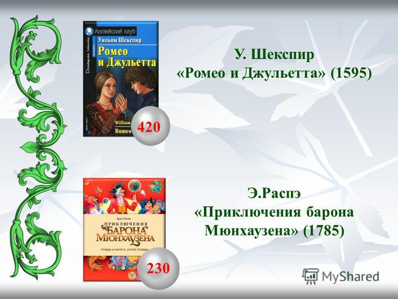 420 230 У. Шекспир «Ромео и Джульетта» (1595) Э.Распэ «Приключения барона Мюнхаузена» (1785)