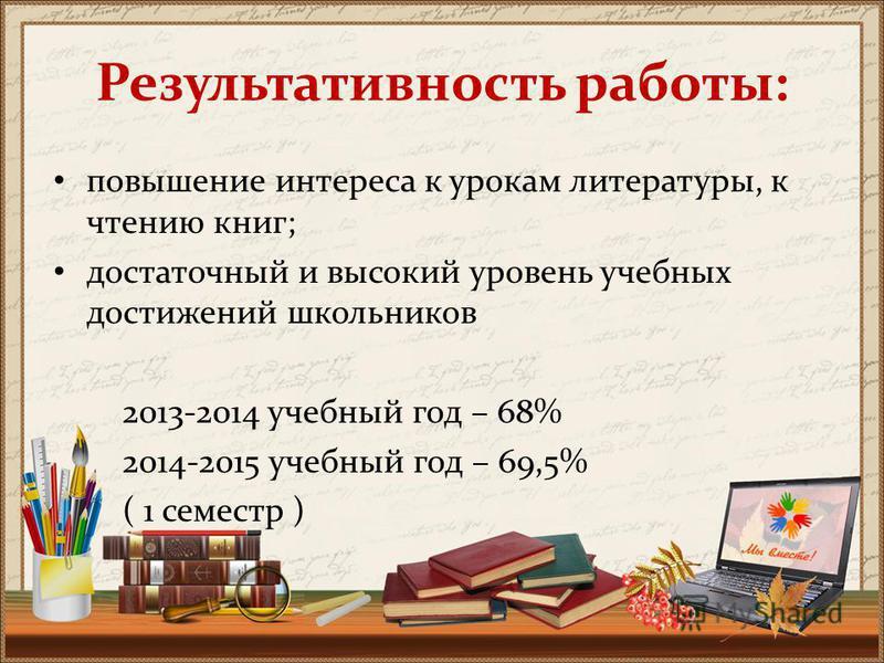 Результативность работы: повышение интереса к урокам литературы, к чтению книг; достаточный и высокий уровень учебных достижений школьников 2013-2014 учебный год – 68% 2014-2015 учебный год – 69,5% ( 1 семестр )