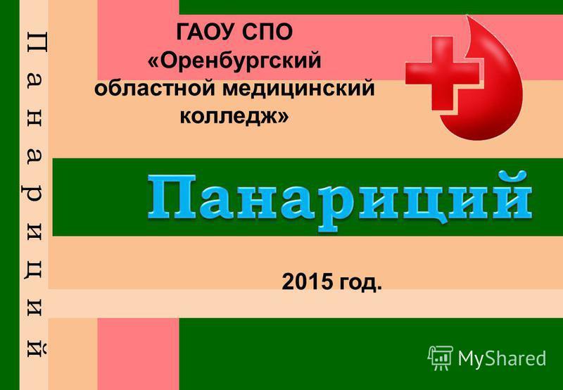 ГАОУ СПО «Оренбургский областной медицинский колледж» 2015 год.