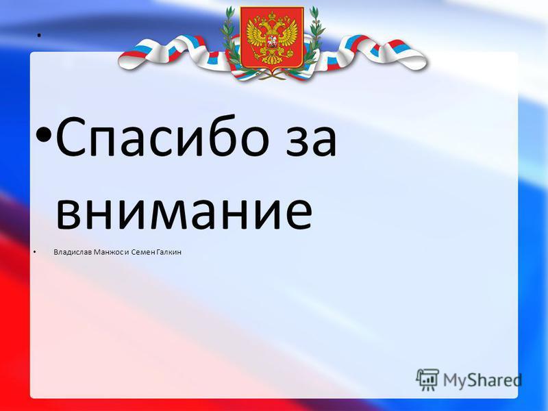 . Спасибо за внимание Владислав Манжос и Семен Галкин