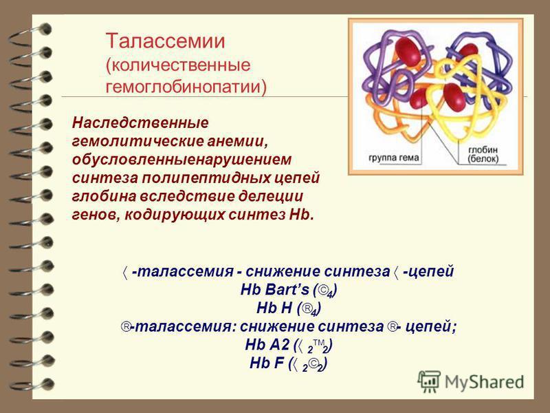 Талассемии (количественные гемоглобинопатии) -талассемия - снижение синтеза -цепей Hb Barts ( 4 ) Hb H ( 4 ) -талассемия: снижение синтеза - цепей; Hb A2 ( 2 2 ) Hb F ( 2 2 ) Наследственные гемолитические анемии, обусловленные нарушением синтеза поли