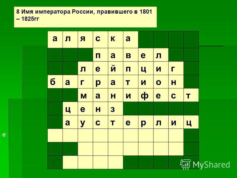 8 Имя императора России, правившего в 1801 – 1825 гг аляска павел лейпциг багратион манифест ценз аустерлиц е